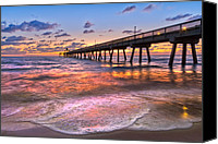 Beach Photograph Canvas Prints - Beach Lace Canvas Print by Debra and Dave Vanderlaan