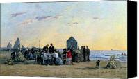 Beach Scenes Canvas Prints - Beach Scene at Trouville - Sunset Canvas Print by Eugene Louis Boudin