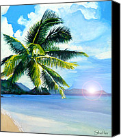 Shaffer Art Canvas Prints - Beach Scene Canvas Print by Curtiss Shaffer