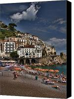 Umbrellas Canvas Prints - Beach scene in Amalfi on the Amalfi Coast in Italy Canvas Print by David Smith