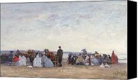 Beach Scenes Canvas Prints - Beach Scene near Trouville Canvas Print by Eugene Louis Boudin