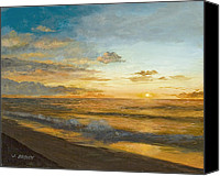 John Brown Canvas Prints - Beach Sunrise Canvas Print by John Brown