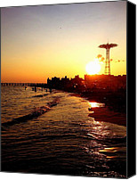 Beach Canvas Prints - Beach Sunset - Coney Island - New York City Canvas Print by Vivienne Gucwa