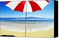 Solitude Canvas Prints - Beach Umbrella Canvas Print by Carl Shaneff - Printscapes