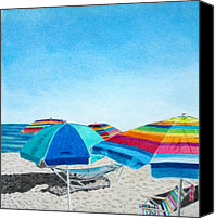 Pencil Drawing Canvas Prints - Beach Umbrellas Canvas Print by Glenda Zuckerman