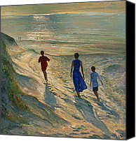 On The Beach Canvas Prints - Beach Walk Canvas Print by Timothy Easton