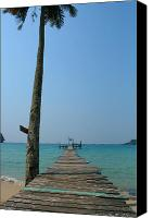 Dewy Canvas Prints - Beach with Long Woden Dock 2 Koh Kut Thailand Canvas Print by Jennifer  Bright