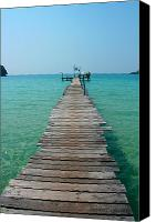 Dewy Canvas Prints - Beach with Long Woden Dock 3 Koh Kut Thailand Canvas Print by Jennifer  Bright