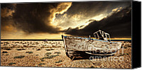 Wooden Boat Canvas Prints - Beached In Color Canvas Print by Meirion Matthias