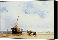 Beach Scenes Canvas Prints - Beached Vessels and a Wagon near Trouville Canvas Print by Richard Parkes Bonington