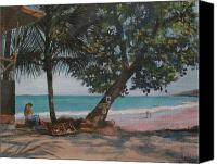Vendor Painting Canvas Prints - Beachfront market in Montezuma Costa rica Canvas Print by Walt Maes
