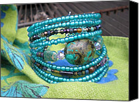Tiger Jewelry Canvas Prints - Beaded Cuff Canvas Print by Beth Sebring