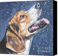 Beagle Canvas Prints - Beagle in snow Canvas Print by L AShepard