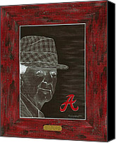 Mlb Painting Canvas Prints - Bear Bryant Canvas Print by Herb Strobino