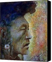 Egg Tempera Painting Canvas Prints - Bear Bull Shaman Canvas Print by Otto Rapp