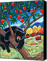 Animal Pastels Canvas Prints - Bear in the Apple Tree Canvas Print by Harriet Peck Taylor