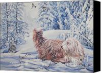 Bunting Painting Canvas Prints - Bearded Collie in the Snow Canvas Print by Lee Ann Shepard