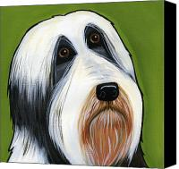 Dogs Canvas Prints - Bearded Collie Canvas Print by Leanne Wilkes