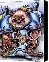 Sports Drawings Canvas Prints - Bears and Cubs Canvas Print by Big Mike Roate