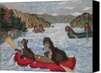 Summer Tapestries - Textiles Canvas Prints - Bears in Canoes Canvas Print by Brenda Ticehurst