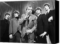 Photo Canvas Prints - Beatles And Ed Sullivan Canvas Print by Granger