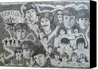 Susan Drawings Canvas Prints - Beatles Tribute Canvas Print by Susan Plenzick