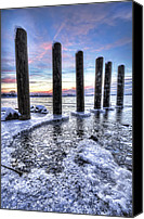 Lake Michigan Canvas Prints - Beautiful Frozen Shoreline Canvas Print by Joe Gee