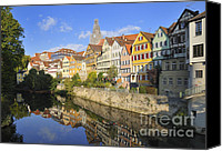 City Scapes Canvas Prints - Beautiful german town Tuebingen - Neckar waterfront Canvas Print by Matthias Hauser