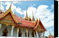 Sky Sculpture Canvas Prints - Beautiful temple Canvas Print by Somchai Suppalertporn