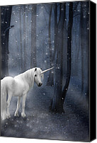 Silver Moonlight Canvas Prints - Beautiful Unicorn in Snowy Forest Canvas Print by Ethiriel  Photography