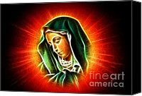 Christian Sacred Canvas Prints - Beautiful Virgin Mary Portrait Canvas Print by Pamela Johnson