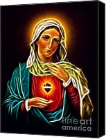 Christian Sacred Digital Art Canvas Prints - Beautiful Virgin Mary Sacred Heart Canvas Print by Pamela Johnson