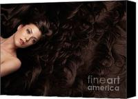 Hairstyle Canvas Prints - Beautiful Woman in a Sea of Hair Canvas Print by Oleksiy Maksymenko