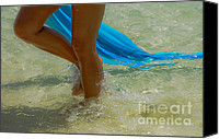 Sun Tan Canvas Prints - Beautiful woman legs in the crystal water Canvas Print by Jenny Rainbow