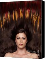 Twenties Photo Canvas Prints - Beautiful Woman with Hair Extensions in a Shape of Fire Canvas Print by Oleksiy Maksymenko
