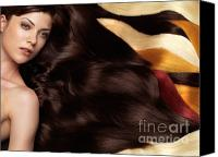 Waving Canvas Prints - Beautiful Woman with Hair Extensions Canvas Print by Oleksiy Maksymenko