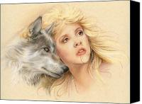Wolf Pastels Canvas Prints - Beauty and the Beast Canvas Print by Johanna Pieterman