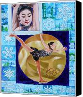 Gold Metal Canvas Prints - Beauty On Ice - Yu-Na KIM Canvas Print by John Lautermilch