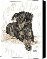 Dobermann Canvas Prints - Beauty Pose - Doberman Pinscher Dog with Natural Ears Canvas Print by Kelli Swan