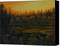 Beaver Painting Canvas Prints - Beaver Pond at Sunset Canvas Print by Rebecca  Fitchett