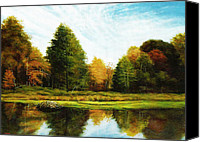 Beaver Painting Canvas Prints - Beaver Pond Canvas Print by John Pirnak