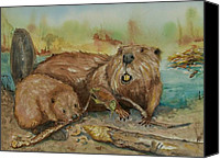 Beaver Painting Canvas Prints - Beavers Canvas Print by Barbara McGeachen