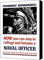 United States Mixed Media Canvas Prints - Become A Naval Officer Canvas Print by War Is Hell Store