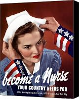 Americana Digital Art Canvas Prints - Become A Nurse Canvas Print by War Is Hell Store