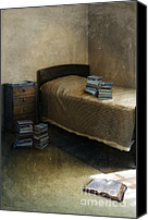 Sparse Canvas Prints - Bedroom with Piles of Books Canvas Print by Jill Battaglia