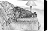 Dobermann Canvas Prints - Bedtime - Doberman Pinscher Dog Art Print Canvas Print by Kelli Swan