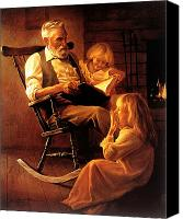 Pajamas Canvas Prints - Bedtime Stories Canvas Print by Greg Olsen