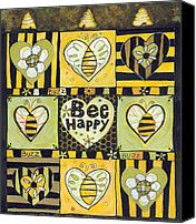 Bee Canvas Prints - Bee Happy Canvas Print by Jen Norton