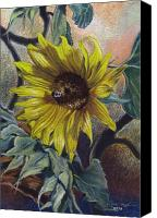 Egg Tempera Canvas Prints - Bee in a Bonnet Canvas Print by Peter Muzyka