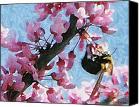 Pink Flower Branch Canvas Prints - Bee to the Blossom Canvas Print by Jeff Kolker